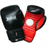 JIN GEAR ミットグローブ    本革 黒赤 [jg-gv-mittboxing-leather-bkrd]
